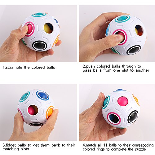 Coogam Rainbow Puzzle Ball with Pouch Color-Matching Puzzle Game Fidget Toy Stress Reliever Magic Ball Brain Teaser for…