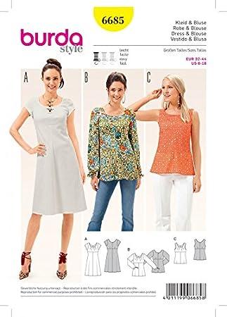 Burda Damen Schnittmuster 6685 Top, Bluse & Kleid: Amazon.de: Küche ...