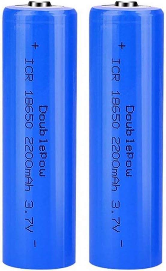 2 Pcs Batería 18650 Recargable Litio Lones Pilas 3.7V 2200mah Capacidad Baterías de Litio Células Acumuladoras para Timbre de Puerta, LED Linterna Antorcha (Puntiagudo)