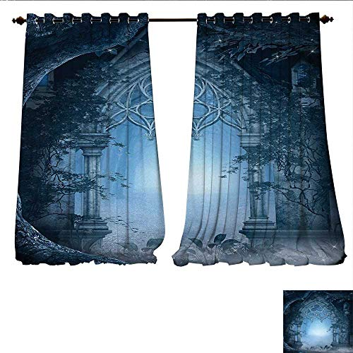 Insulating Blackout Curtain Passage Doorway Through Enchanted Foggy Magical Palace Garden at Night View Patterned Drape for Glass Door W96 x L84 Navy Blue and Gray ()