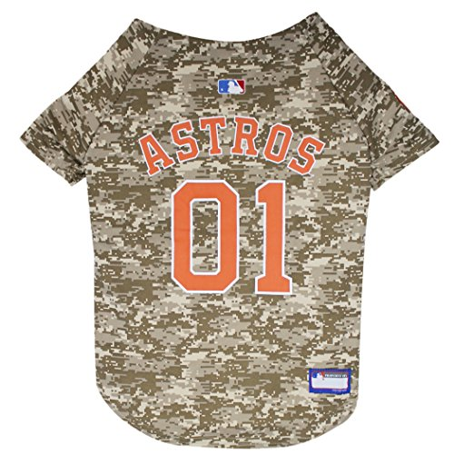 Pets First MLB Camo Jersey for Dogs - Houston Astros Hunting Jersey, Medium. - MLB Team Logo Camouflage PET Jersey