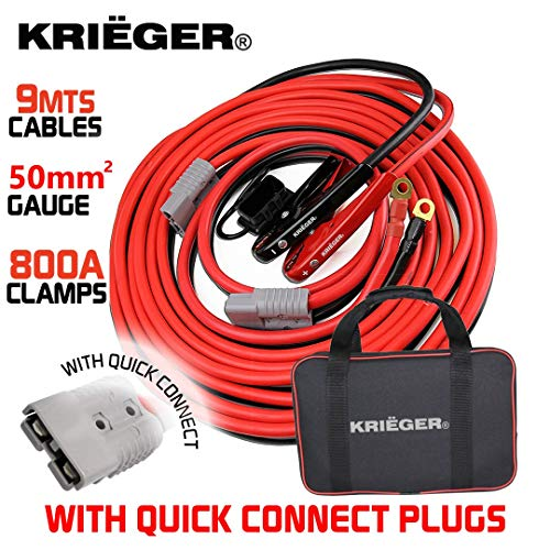 Cables de Arranque Krieger 9 Metros 50mm² Pinzas 800Amp, Kit de Instalación Permanente a la Bateria con Enchufe Conexión…