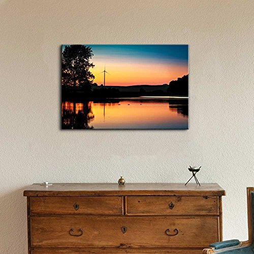 Wind Turbine and Sunset at Lake in Summer Wall Decor