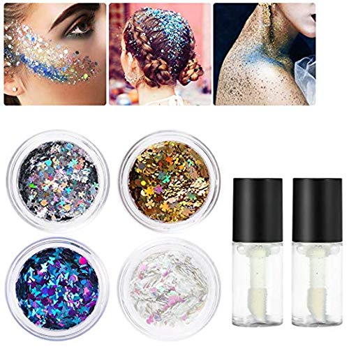 Halloween Makeup Hollow Cheeks (PIXNOR Holographic Chunky Body Glitter 4 Colors Cosmetic Glitters with 2pcs Long Lasting Fix Gel for Festival face,Makeup,Body,Hair,Nail and Other Occasions)