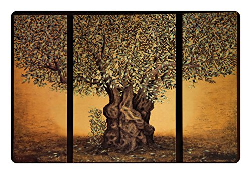 Tree of Life Pet Mats for Food and Water by Ambesonne, Triptych of Old Mature Olive Tree Mediterranean Greece Style Nature Graphic, Rectangle Non-Slip Rubber Mat for Dogs and Cats, Multicolor