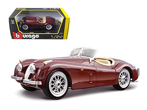 Bburago 1948 Jaguar XK 120 Roadster Burgundy 1/24 Diecast Model Car by 22018bur