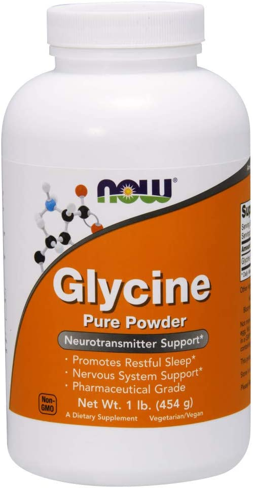 NOW Supplements, Glycine Pure Powder, Promotes Restful Sleep*, Neurotransmitter Support*, 1-Pound
