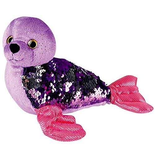 Sequinimals Sequin Plush Seal~Adorable Stuffed Animal Reversible Sequins Purple to Silver