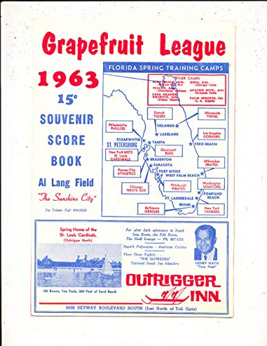 1963 St Louis Cardinals vs Philadelphia Phillies Spring Training Program bxprog