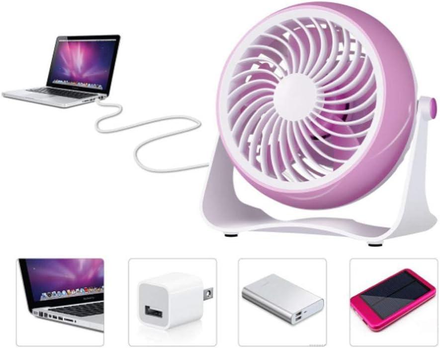 SELCNG Mini Fan 4 inch Desktop Large Wind Mute Office Battery USB Fan-Pink