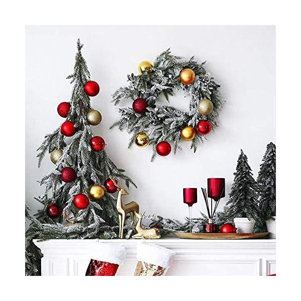 ZHOUZHOU 24 Pezzi 4cm Palle di Natale,Palline di Natale,Albero di Natale Palla Decorazioni,Palle Albero di Natale,Ornamenti di Palla di Natale,Natalizie Plastica Palle (Rosso) 7 spesavip