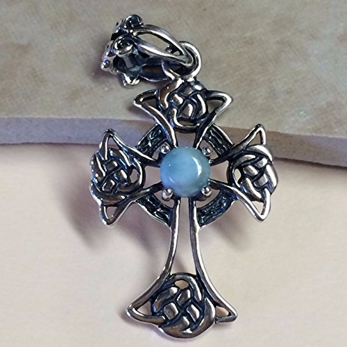 Natural Dominican Larimar 925 Solid Sterling Silver Cross Pendant 36mm - 36mm Pendant