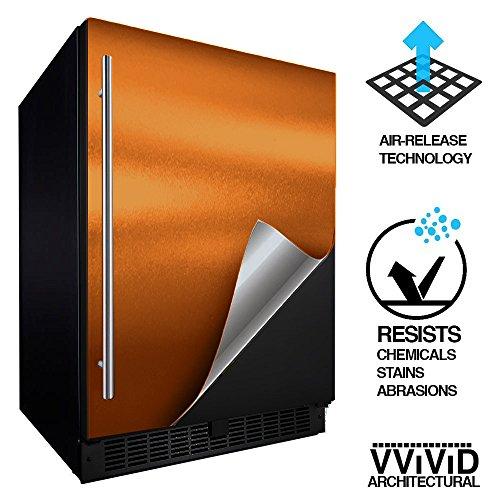 VViViD Architectural Adhesive Metallic Satin Finish Vinyl 24 Inch x 60 Inch Roll (Satin Chrome Copper) (Texture Wallpaper Satin)