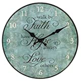 12'' Faith, Hope, Love Round Wall Clock