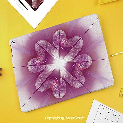 Case for Samsung Galaxy Tab S4 10.5 T830 T835 T837 Kids Safe Shockproof,Spires Decor,Computer Rendered Abstract Fractal Flower Motif Gathered an Axis Polar Graphic Work,Pink