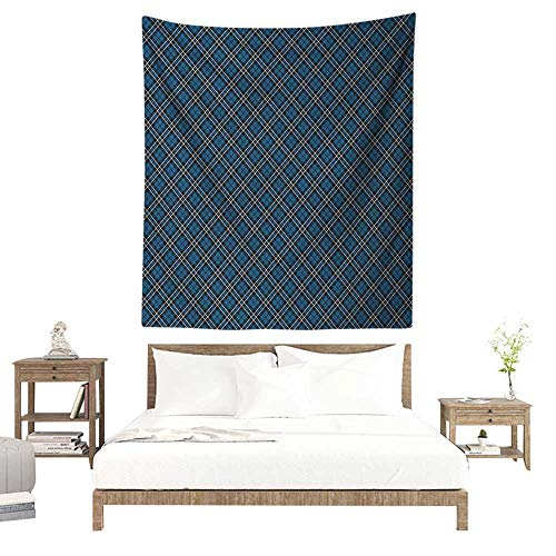 (WilliamsDecor Polyester Tapestry Abstract Victorian British Tartan Pattern with Baroque Effects in Dark Tones Print 57W x 74L INCH Suitable for Living Room, Bedroom, Beach)
