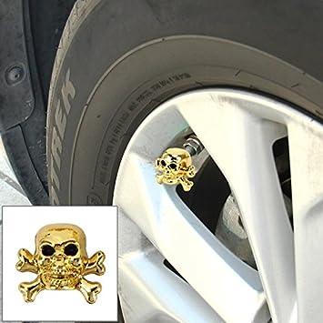 Tapón válvula neumático coche 4 Pcs universal cráneo forma Gas boquilla tapa tapa Motor bicicleta Tire Caps: Amazon.es: Coche y moto