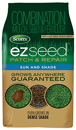 Scotts EZ Seed Patch and Repair Sun and Shade, 40 lb. - Combination Mulch, Seed and Fertilizer, Tackifier Reduces Seed Wash-Away - Full Sun, Dense Shade, High Traffic Areas - Covers up to 890 sq. ft. (Best Turf For Shade)