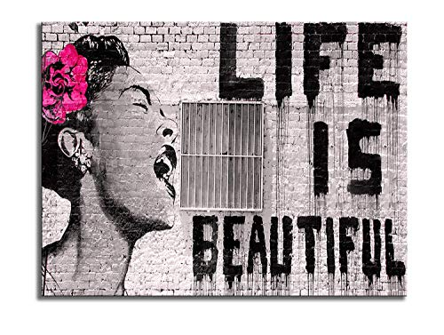 Wieco Art Canvas Prints Of Banksy Life Is Beautiful Modern Stretched And Framed Giclee Artwork Grey Love Pictures Paintings On Canvas Wall Art For Bedroom Home Office Decorations Buy Online In India