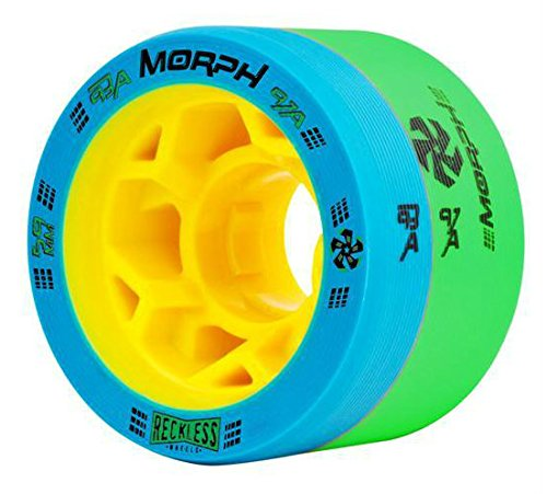 Reckless MORPH Quad Indoor Roller Derby Speed Skate Dual Durometer Wheels 8 Pk. (Blue/Green - Yellow Hub (93A/97A))