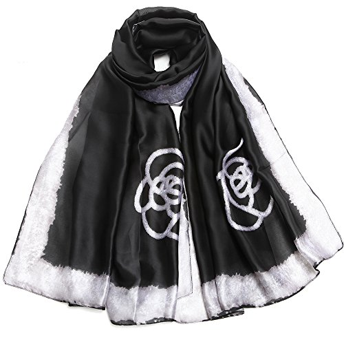 Silk Scarf Large Satin Headscarf Fashion Flower Pattern Wrap Shawl Scarves for Women Black