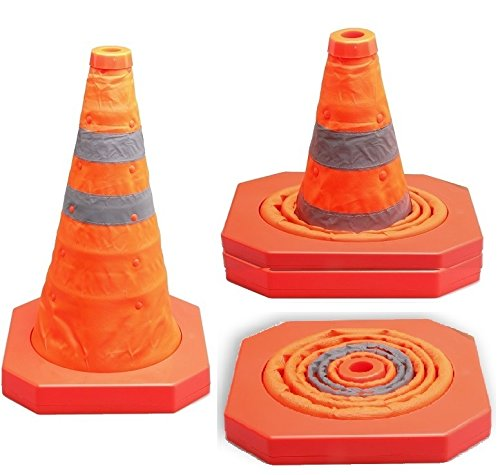 Cartman Collapsible Traffic Cone 15,5 Inches, Multi Purpose Pop up Reflective Safety Cone (2pk) by CARTMAN