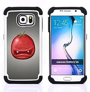"""Pulsar ( Angry Retrato Tomate Rojo Fruta Arte Cara"""" ) Samsung Galaxy S6 / SM-G920 SM-G920 híbrida Heavy Duty Impact pesado deber de protección a los choques caso Carcasa de parachoques"""