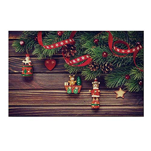 YOLIYANA Christmas Durable Door Mat,Rustic Wooden Backdrop December Old Christmas Noel Time Theme Ribbon Print for Home Office,19.6