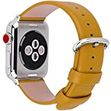 15 Colors for Apple Watch Bands 38mm, Fullmosa Yan Calf Leather Replacement Band/Strap with Stainless Steel Clasp for iWatch Series 0 1 2 3 Sport and Edition Versions 2015 2016 2017,38mm Yellow
