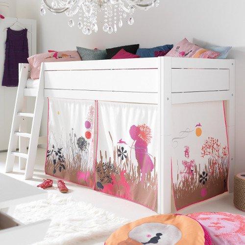 AKTION - Halbhohes Bett/ Kinderbett WUNDERLAND, weiß, umbaubar, 90x200cm