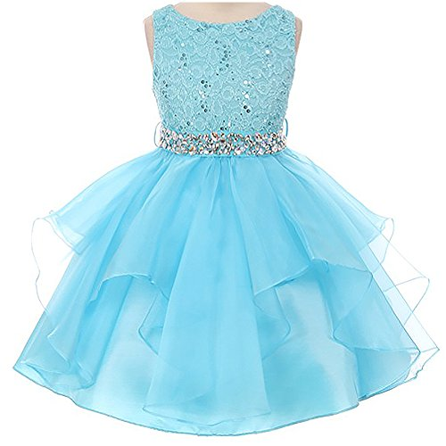 Hatoys Girls Flower Lace Tutu Pageant Party Wedding Formal Princess Dressy Dresses