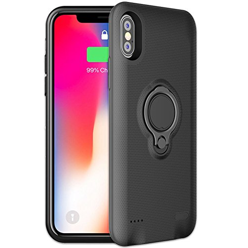 iPhone X Battery Case - Veepax Premium 5000mAh Portable Charging Case for iPhone X/10 Extended Rechargeable Power Bank with Ring Holder Magnet Kickstand - Black
