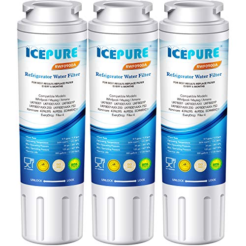 - ICEPURE UKF8001 Replacement Refrigerator Water Filter, Compatible with Maytag UKF8001, UKF8001AXX, UKF8001AXX-200, UKF8001P, Whirlpool 4396395, 469006, EDR4RXD1, EveryDrop Filter 4, Puriclean II,3PACK