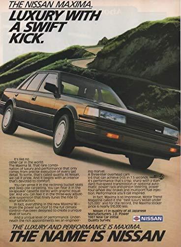 (Magazine Print Ad: Black 1987 Nissan Sentra SE Sedan, 3.0 L V-6,