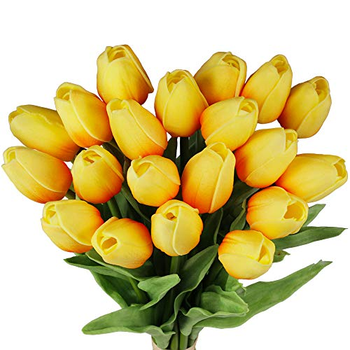 20 Pcs Artificial Orange Tulips Flowers Faux Tulip Stems Real Feel PU Tulips for Easter Spring Wreath Floral Arrangement…