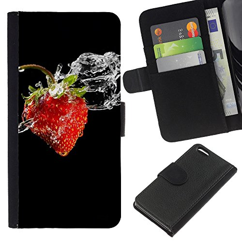 Lead-Star (Fruit Macro Wet Strawberry) Colorful Impression Holster Cuir Wallet Cover Housse Peau Cas Case Coque Pour Apple iPhone 5C