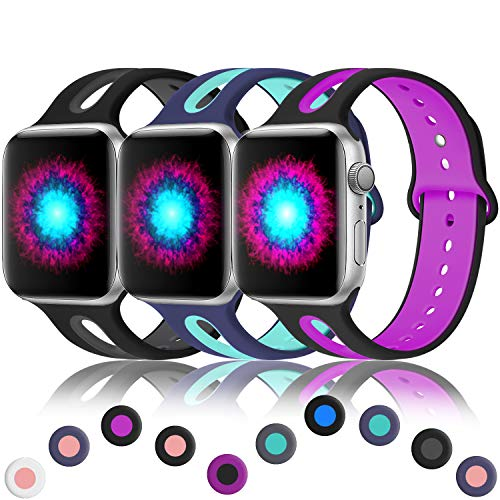 Haveda Breathable Bands Compatible for Apple Watch 42mm/44mm, Sport Silicone Replacement for Apple Watch 4, iWatch Series 4/3/2/1, Women Men Kids 42mm/44mm M/L Black/Grey, Blue/Teal, Black/Magenta