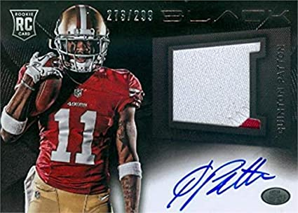 Quinton Patton autographed player worn jersey patch football card ...