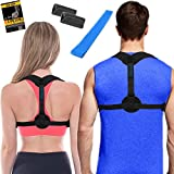 Posture Corrector for Women & Men + Bonus Stretching Band, Adjustable Clavicle Brace Perfect for Clavicle Support, Natural Upper Back Correction, Best Womens + Mens Medical Kyphosis Brace, INSPIRATEK