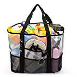 Amzbag Beach Bag Mesh Beach Bag Children Toy Organizer Clothes Organizer Market Grocery Shopping Tote Built-in Zipped Sleeve For Family Travel keeping Baby Toy XXL-size (17.3x14.9x9.8 Inches)