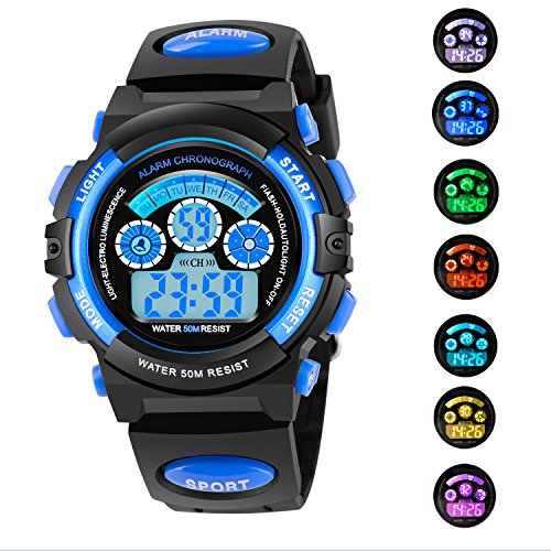 AZLAND 7 Colors Flashing Waterproof Outdoor Sports Kids Wristwatch Boys Girls Digital Watches Blue … (Blue)