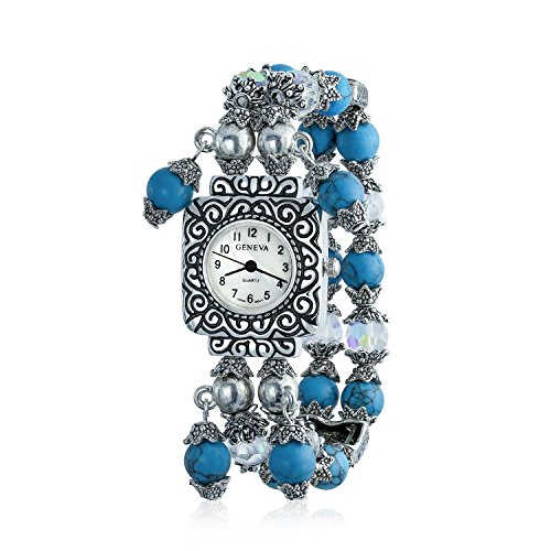 Vintage Style Simulated Turquoise Beads Fashion Stretch Bracelet Wrist Watch for Women White Square Face Dial Steel Back