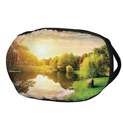 Fashion Cotton Antidust Face Mouth Mask,Landscape,Sunset Over Calm River Grass Willow Trees Grass Rocks Reflection Clouds,Green Blue White,for women & men ()