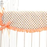 Coral and Gold Dot Ruffle Crib Rail Cover