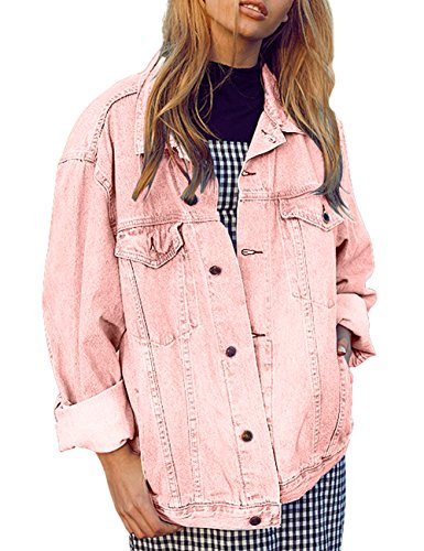 just quella Women Pocket Button Casual Denim Jacket Coat 8989 (S, Pink) ()