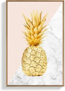 SIGNFORD Framed Canvas Wall Art for Living Room, Bedroom Golden Pineapple Canvas Prints for Home Decoration Ready to Hang - 16x24 inches