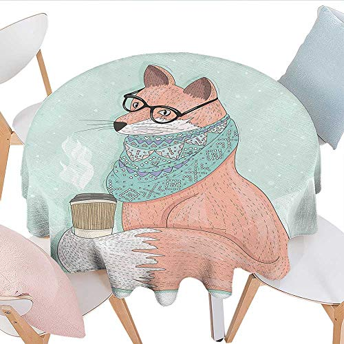 Sunsetglow Animal Decor, Tablecloth Seamless, one-Piece Design Cute Hipster Fox with Glasses and Scarf Drinking Coffee Hippie Illustration, Multipurpose Round Tablecloth Diameter 70 Inch, Coral Mint