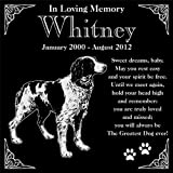 Personalized Brittany Spaniel Dog Pet Memorial 12''x12'' Engraved Black Granite Grave Marker Head Stone Plaque WHI1