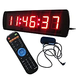 LED Wall Clock 3 High Digits Red Color 12/24-Hour Display Support Countdown/up Function in Hours Minutes Seconds Wireless IR Remote Control