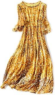 Donna Girocollo 3/4 Maniche Vestito,Punto d'onda stampato Spiaggia medio lungo Abiti Vestito